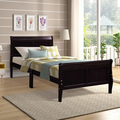 Wood Platform Bed Twin Bed Frame Mattress Foundation Sleigh Bed With Headboard/footboard/wood Slat Support