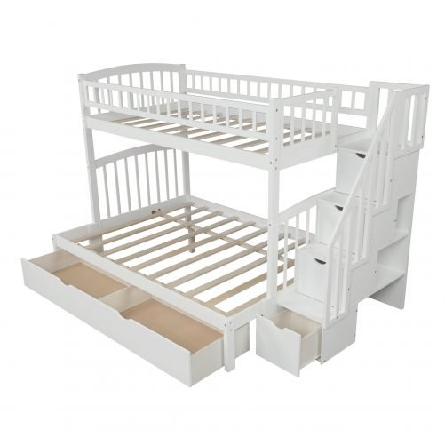 Twin Over Full/twin Bunk Bed With Staircases And Drawers, Convertible Bunk Bed, Whitenew