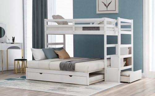 [pick-up Unavailable] Twin Over Twin/king Bunk Bed With Twin Size Trundle White
