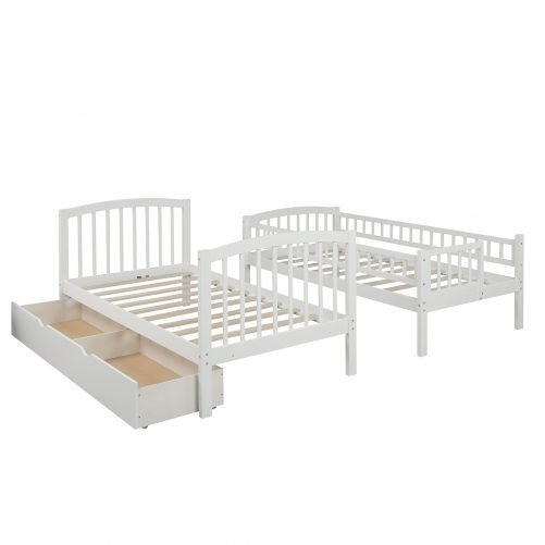 Twin Over Twin Bunk Bed With Staircases And Drawers, Convertible Bunk Bed, Whitenew