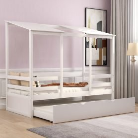 Kids Beach House Bed With Trundle, Twin Size White