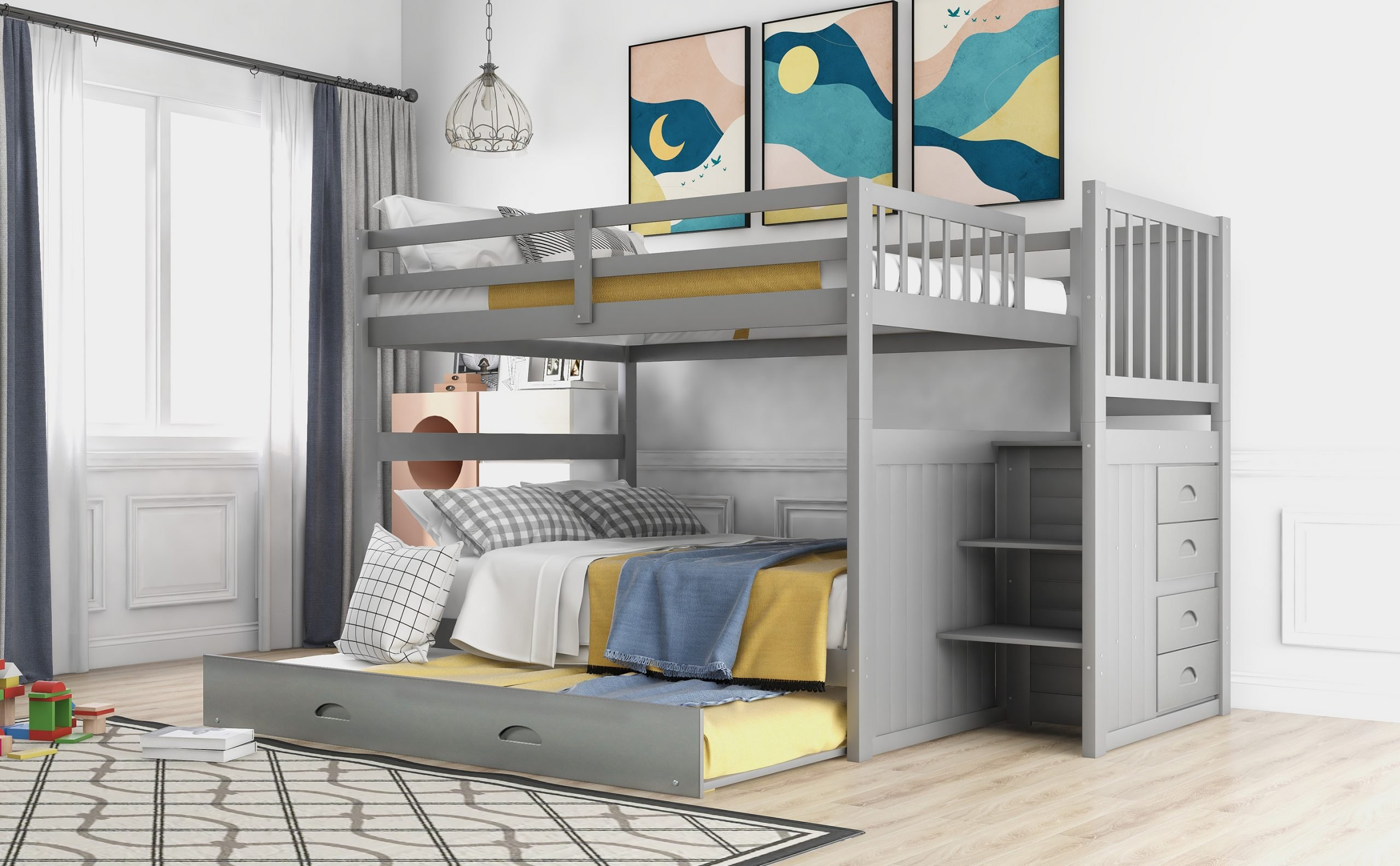 Full Over Full Bunk Bed With Twin Size Trundle Gray