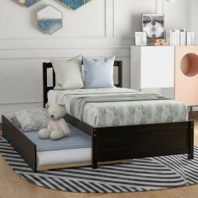 Twin Size Platform Bed Wood Bed Frame With Trundle, Espresso