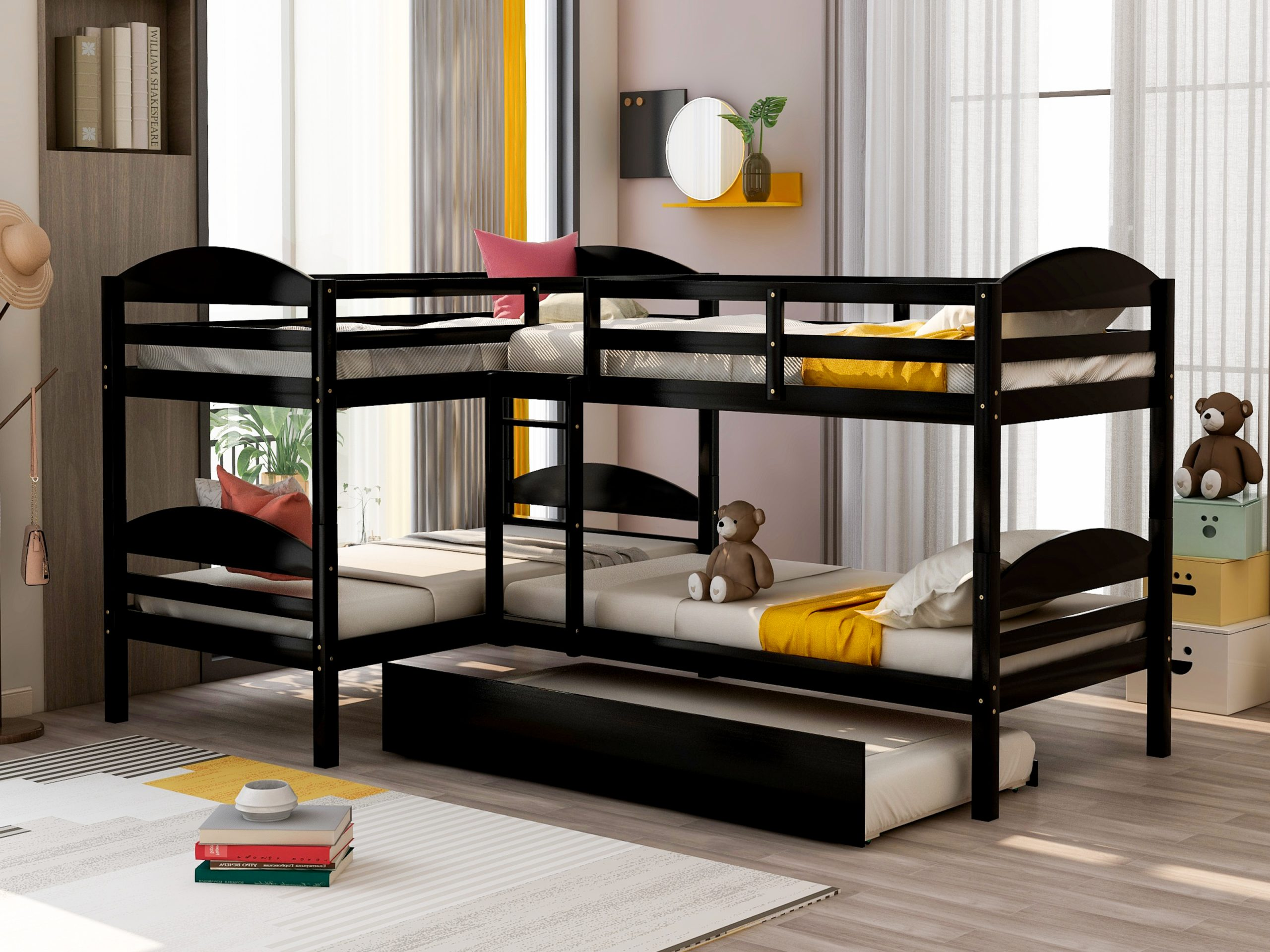 Twin L-shaped Bunk Bed With Trundle-espresso