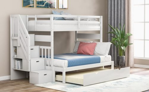 Twin Over Twin/full Bunk Bed With Twin Size Trundle White