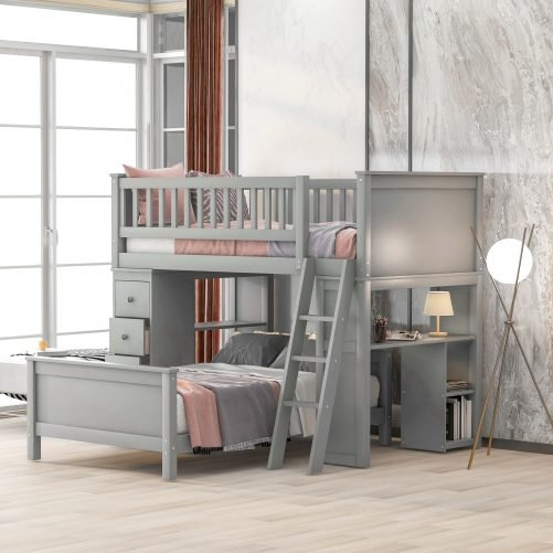 Twin Over Twin Bed With Drawers And Shelves