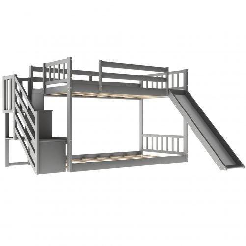 Twin Over Twin Bunk Bed With Convertible Slide And Stairway