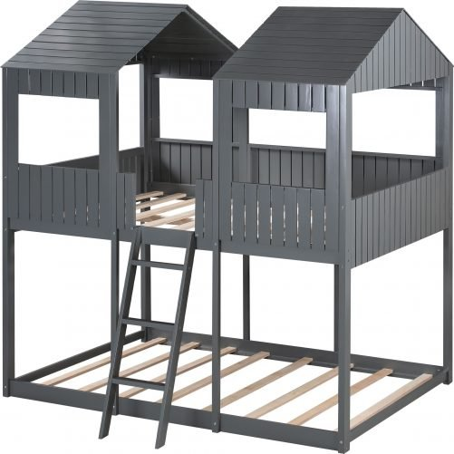 Full Over Full Wood Bunk Bed With Roof, Window, Guardrail, Ladder
