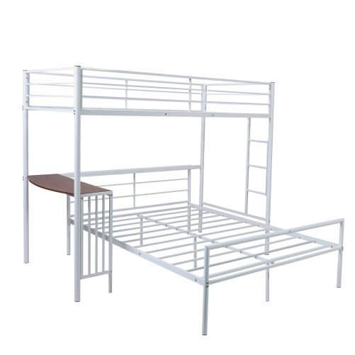 Twin Over Full Metal Bunk Bed With Desk, Ladder And Quality Slats