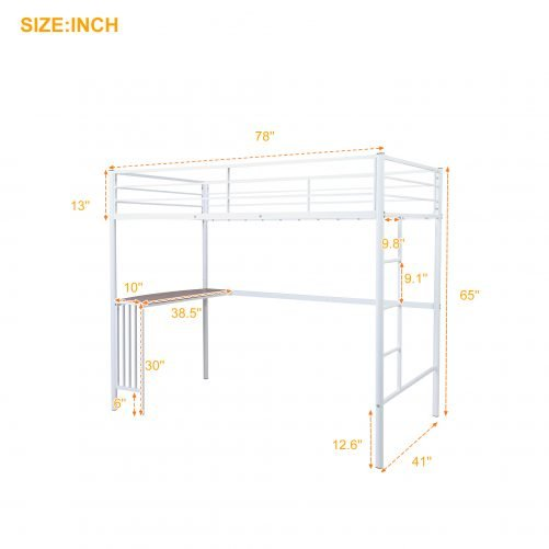 Twin Metal Loft Bed With Desk, Ladder And Guardrails