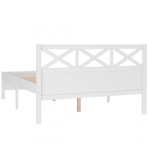 Queen Size Wooden Platform Bed With Extra Support Legs, X-Shaped Frame