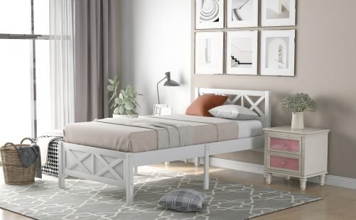 Twin Size Wooden Platform Bed With X-Shaped Frame