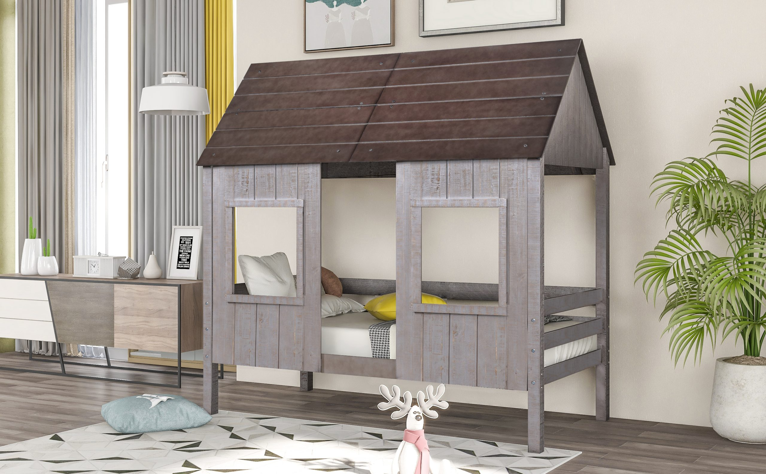 Twin Size Low Loft Wood House Bed With Two Front Windows