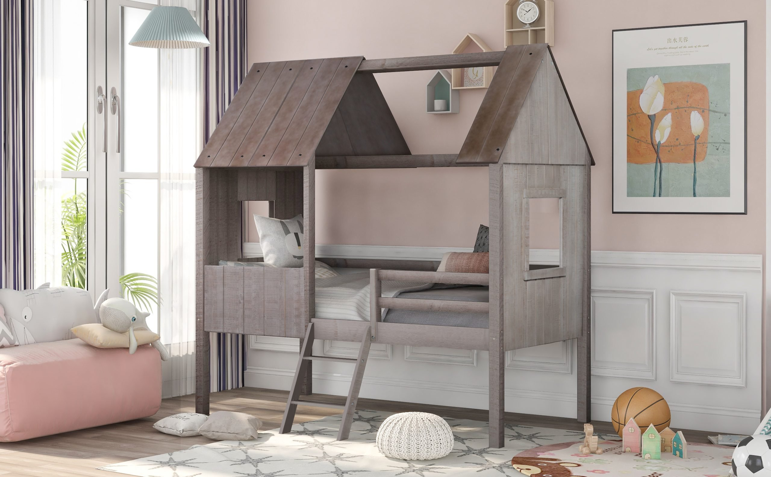 Twin Size Low Loft Wood House Bed With Two Slide Windows