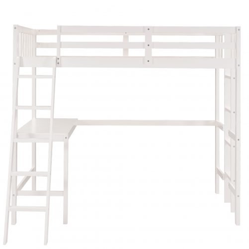 Wooden Twin Size Loft Bed With Desk And Two Ladder