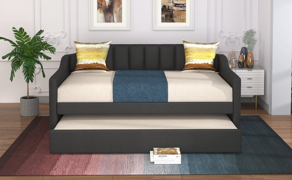Upholstered Twin Daybed With Trundle
