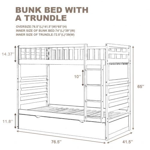 Twin Bunk Beds For Kids With Safety Rail And Movable Trundle Bed