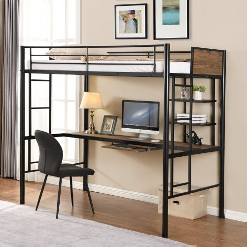 Space Saving Design Loft Bed With Desk And Shelf