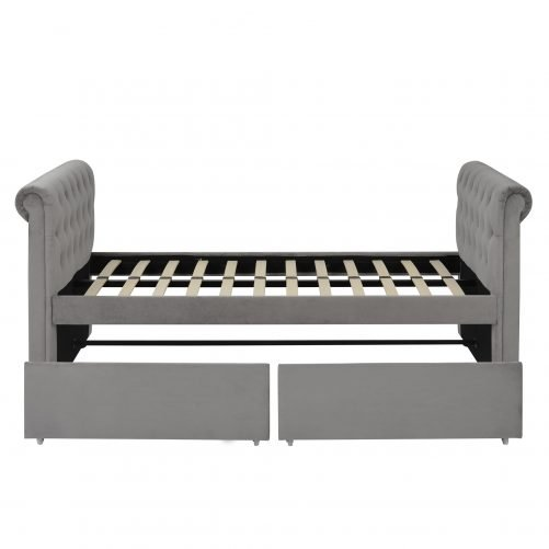 Twin Size Upholstered Daybed With Two Drawers, Wood Slat