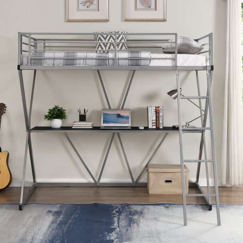 X-Shaped Steel Twin Loft Bed With Desk, Ladder And Full-length Guardrails