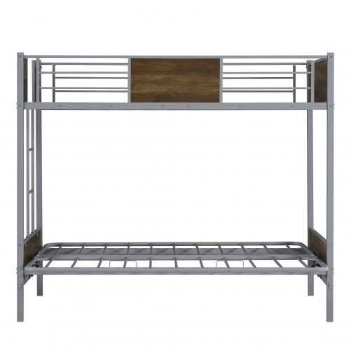 Twin-over-Futon Metal Bunk Bed, With Guardrails And Ladder