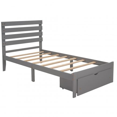 Twin Size Platform Bed With Drawer