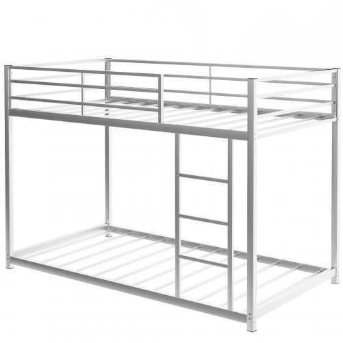 Twin Over Twin Metal Low Bunk Bed With Ladder