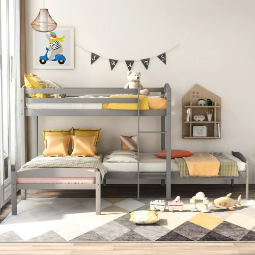 L-Shaped,Twin Over Twin Over Twin Bunk Bed, Pine Wood Bed Frame