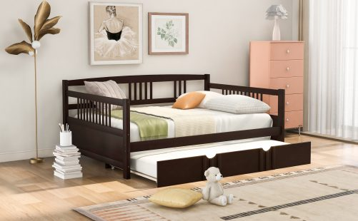 Full Size Daybed Wood Bed With Twin Size Trundle