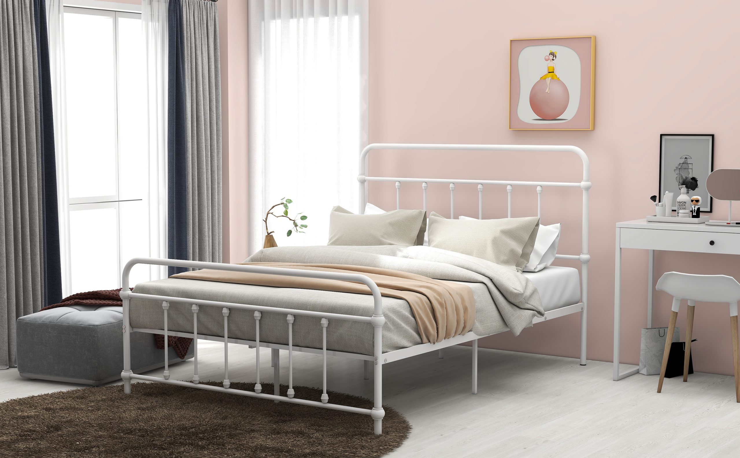 Full Size Metal Platform Bed With Headboard And Footboard