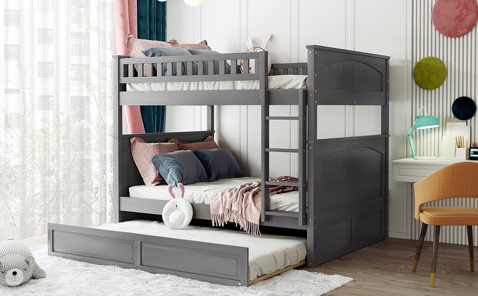 Full Over Full Pine Wood Bunk Bed With Twin Size Trundle