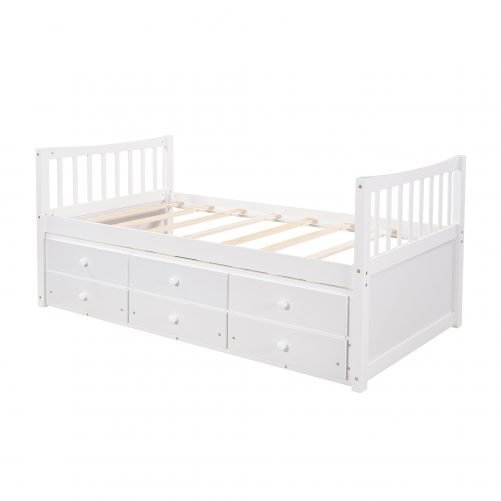Daybed With Trundle And Drawers, Twin Size, Whiteold Sku: Lp000041kaa,lp000041aak