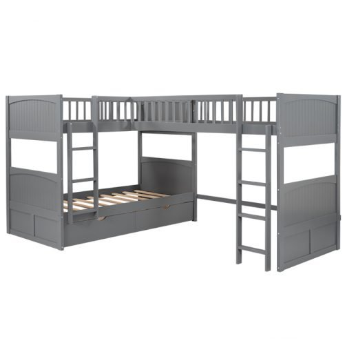 Twin Size Bunk Bed With A Loft Bed Attached, With Two Drawers