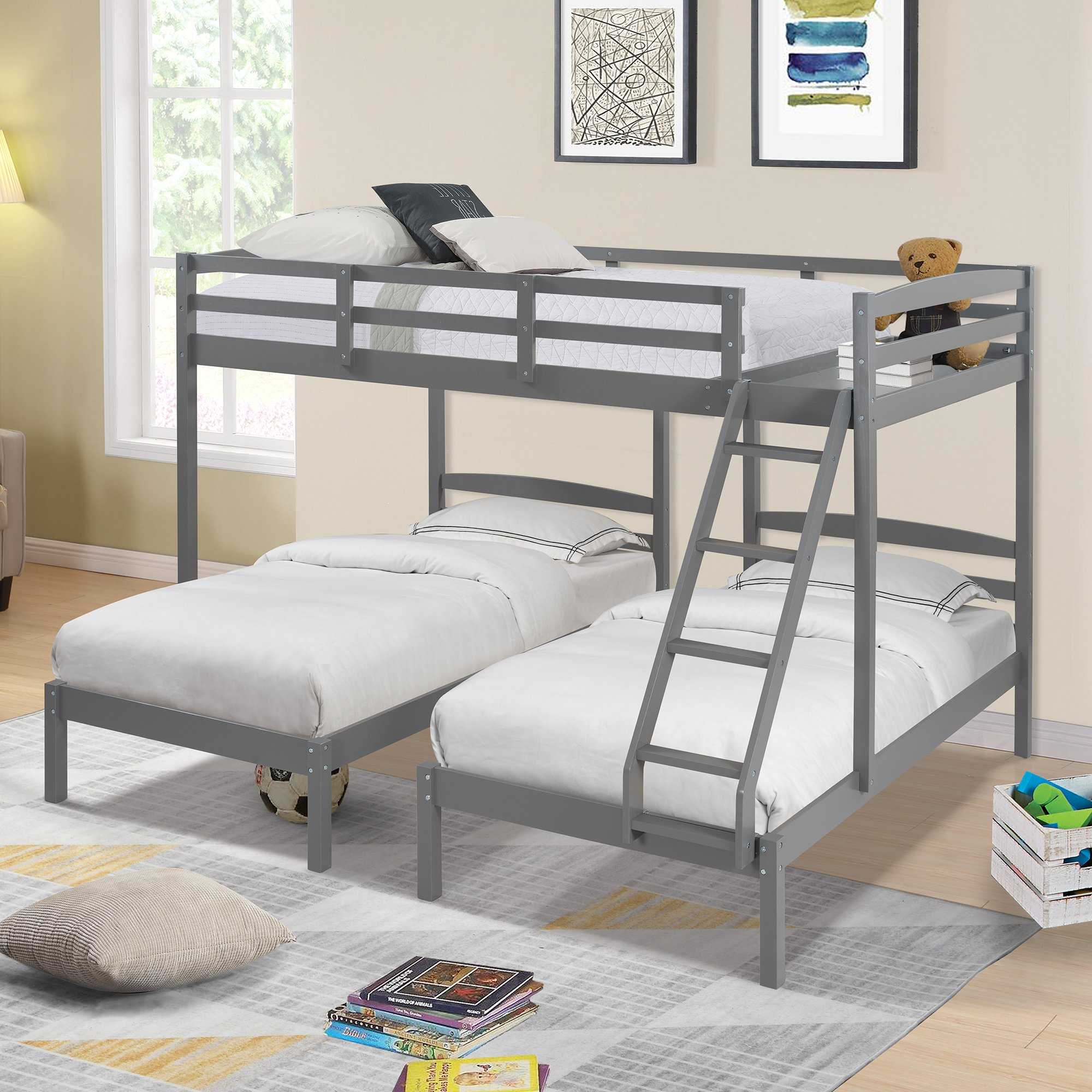 Full Over Twin & Twin Bunk Bed With Drawers