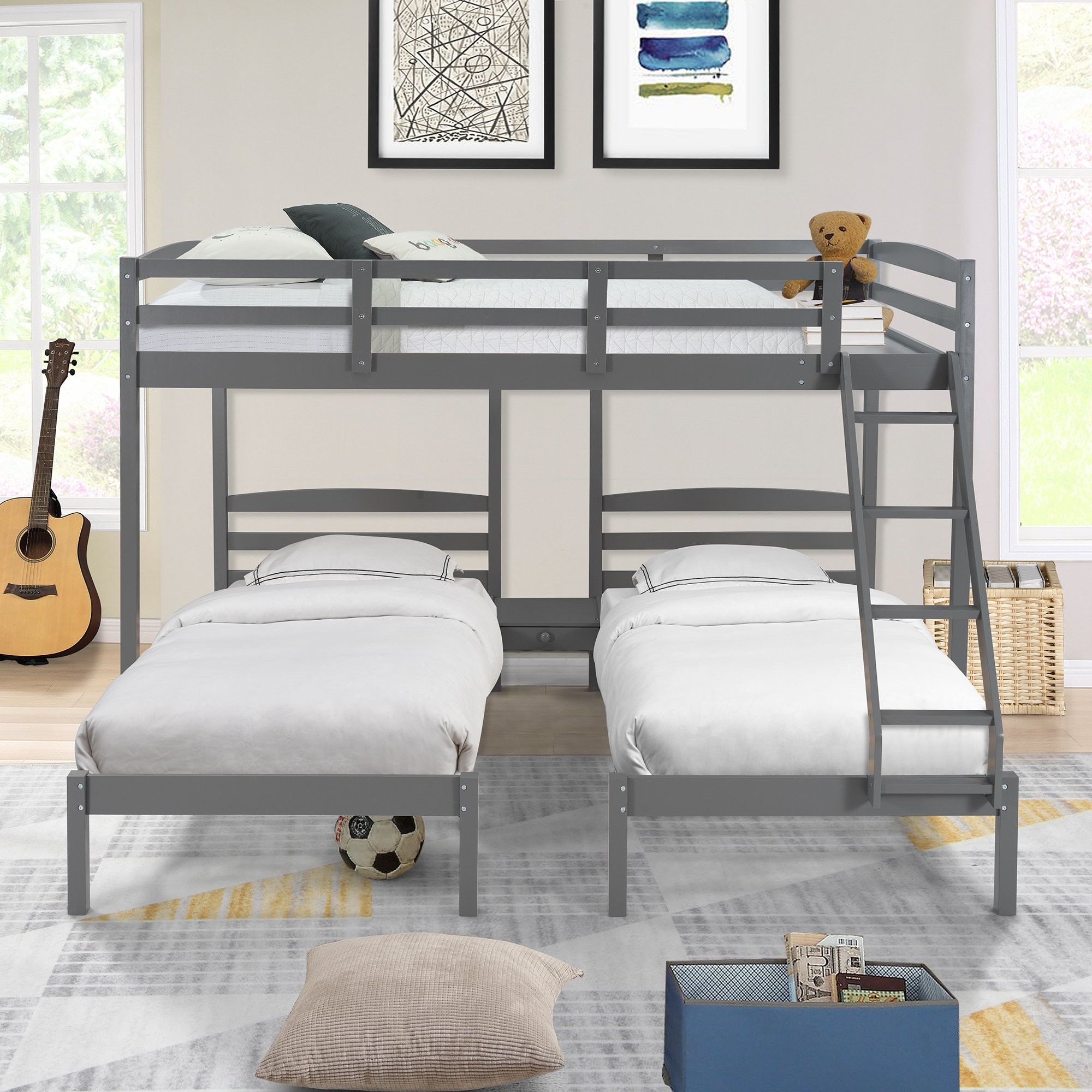 Full Over Twin & Twin Bunk Bedtriple Bunk Bed, Gray