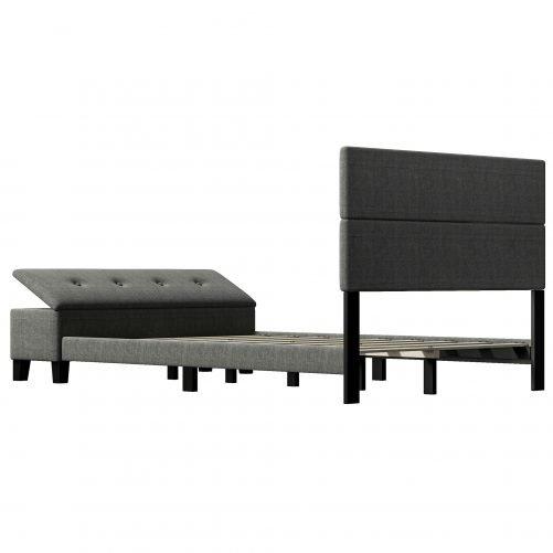 Upholstered Full Size Platform Bed with Storage Case
