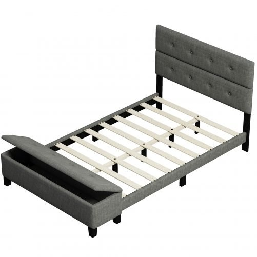Upholstered Queen Size Platform Bed with Storage Case