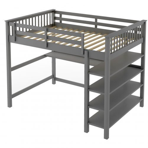 Rubber Wooden Full Size Loft Bed With Storage Shelves And Under-bed Desk
