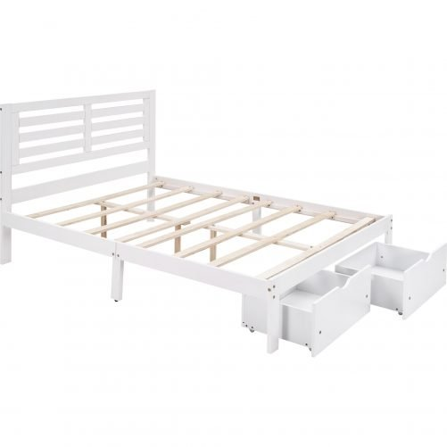 Full Size Platform Bed With 2 Drawers
