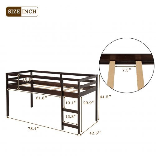 Twin Size Low Study Loft Bed
