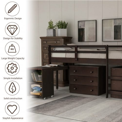Low Study Twin Loft Bed With Cabinet And Rolling Portable Desk