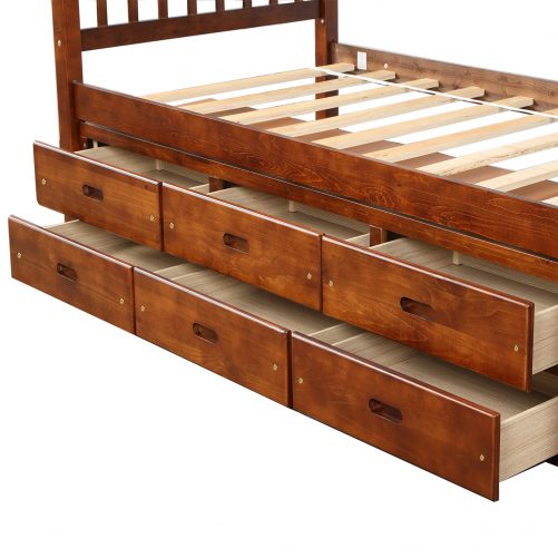 Twin Size Platform Storage Bed Solid Wood Bed With 6 Drawers