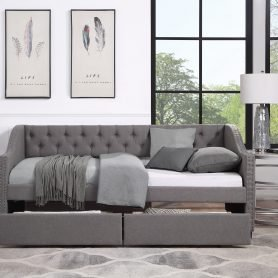 Twin Size Upholstered Daybed With Two Drawers