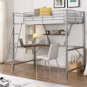 Metal Loft Bed With L-Shaped Desk And Shelf