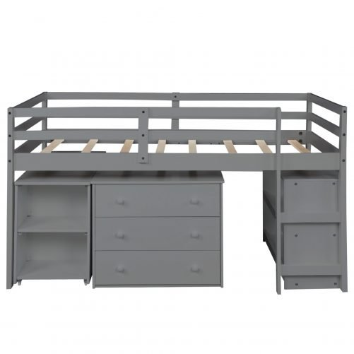 Low Study Twin Loft Bed With Cabinet And Rolling Portable