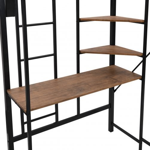 Twin Size Metal Loft Bed, With Shelves And Desk