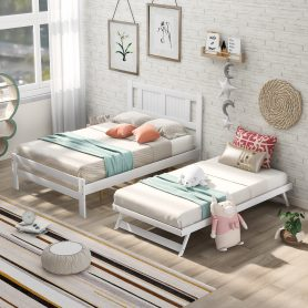 Full Size Platform Bed With Adjustable Trundle