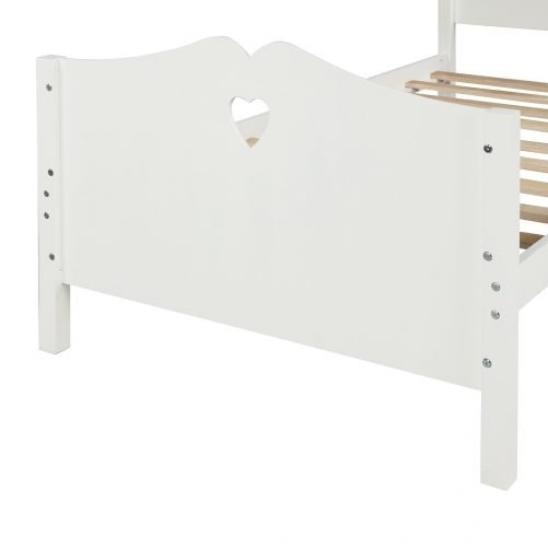 Twin Size Wood Platform Bed With Headboard,Footboard And Wood Slat Support