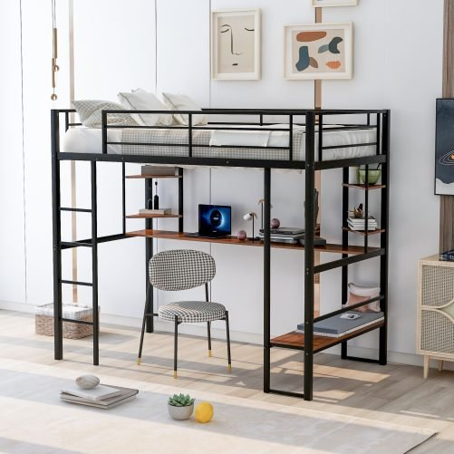 Twin Size Loft Metal&mdf Bed With Long Desk And Shelvesnew, Expected To Arrive On May 1