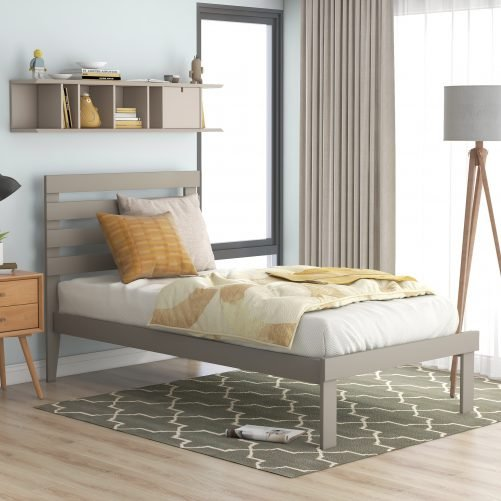 Twin Size Platform Bed With Headboard